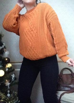 Вязаный свитер оверсайз пуловер кофта