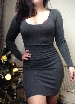 Тёплое платье миди/футляр/повседневное