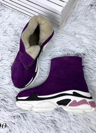 Ботинки зимние в стиле b@lenciaga из натуральной замши. размеры с 36 по 40