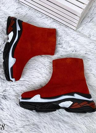 Ботинки в стиле b@lenciaga из натуральной замши. размеры с 36 по 40