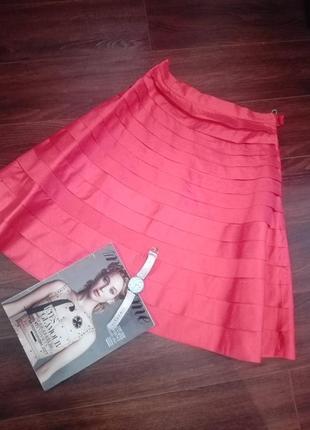Ультрамодная юбка миди трапеция оригинальная из 100%шелка
