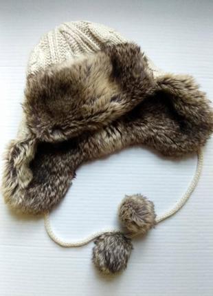 Супер теплая, стильная  шапка - ушанка new look