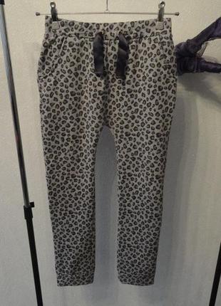 Штаны леопардовые, в обтяжку, брюки на утеплителе бойфренды