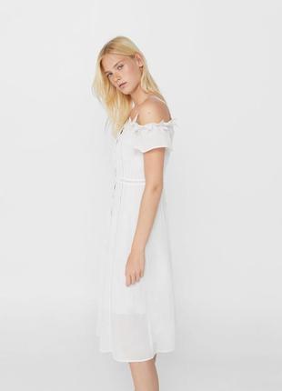 Mango белое платье миди хлопковое с кружевом l