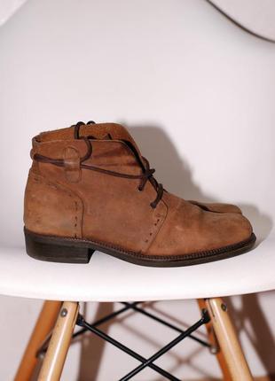 Осенние кожанные коричневые ботинки (нубук) размер 38 - 39