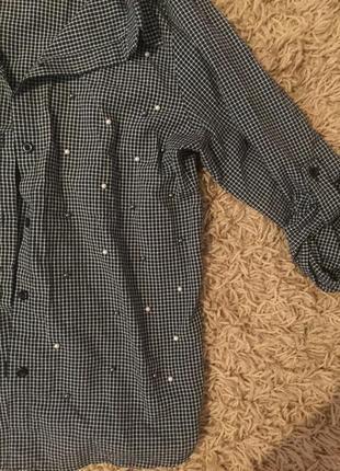 Удлинённая рубашка в клеточку