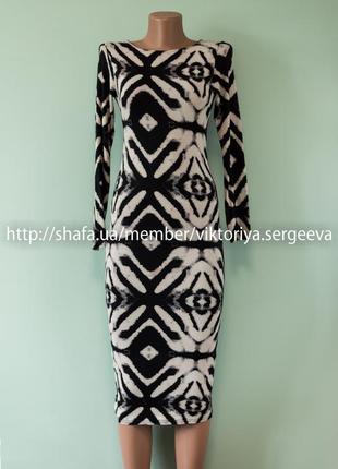 Большой выбор платьев - стильное вискозное платье миди длинный рукав
