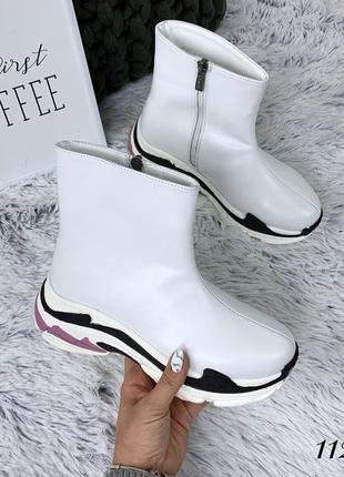 Ботинки зимние в стиле b@lenciaga из натуральной кожи. размеры с 36 по 40