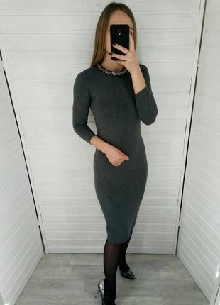Серое платье миди zara