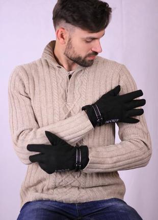 Мужские двойные флисовые перчатки черного цвета размер 10-11-11,5