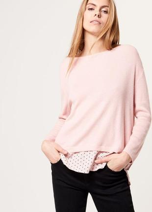Мягкий свитер с элементами рубашки mohito