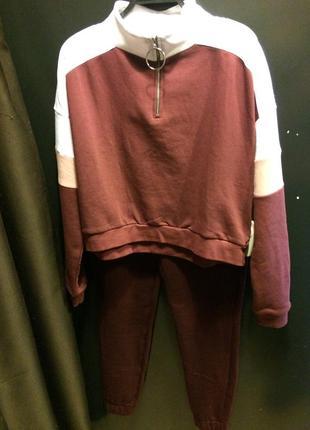 Бордовый костюм двойка штаны + кофта на флисе