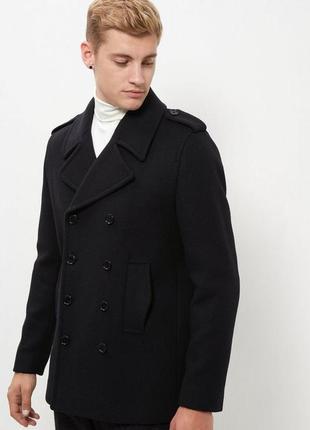 Нереально стильное тёплое мужское пальто двубортное шерстяное классическое