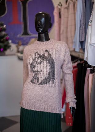 Шикарный вязаный шерстяной свитер цвета пудры от sewel