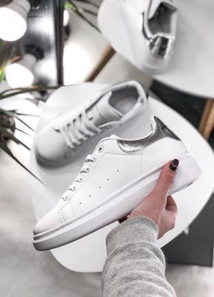 Распродажа! шикарные женские весенние кроссовки alexander mcqueen white/silver