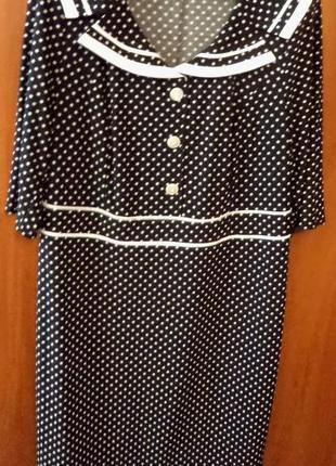 Оригинальное нарядное женское платье черное в белый горошек с белой отделкой, р. 50