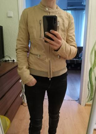 Кожаная куртка бежевая