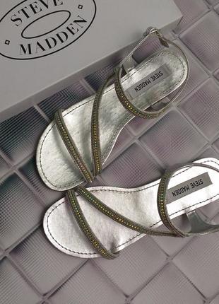 Steve madden оригинал сандалии босоножки серебристые с стразами бренд из сша