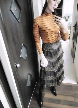 Много ярусная деми юбка с асимметричным дизайном из сетки и экокожи