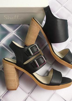 Shellys london оригинал босоножки кожаные на широком каблуке закрытый подъем бренд из сша