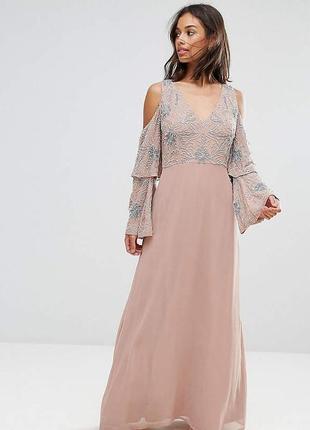 🔥скидки🔥новое шикарное вечернее платье в пол длинное asos с камнями и бисером