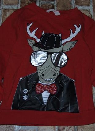 Кофта свитер  двунить 4-6 лет олень