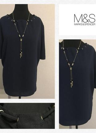 Очаровательная блуза... синего цвета.. горловина присобрана🌹 размер xl/xxl