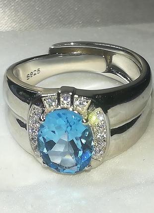 Мужской перстень .серебро 925 топаз безразмерное