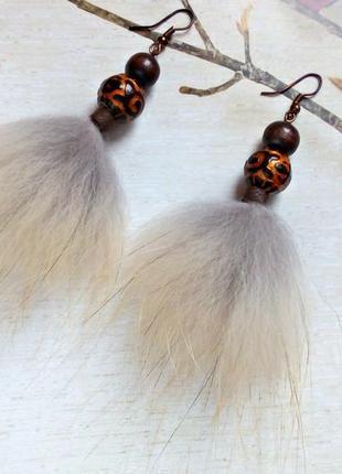 Серьги-хвостики из натурального меха.