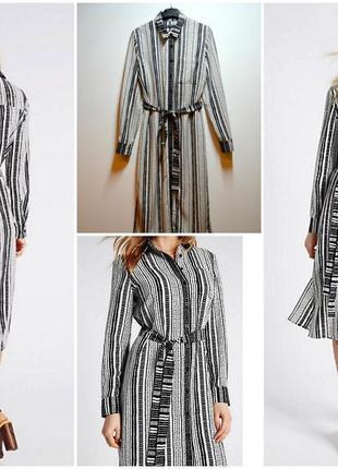 Стильное длинное платье рубашка в полоску