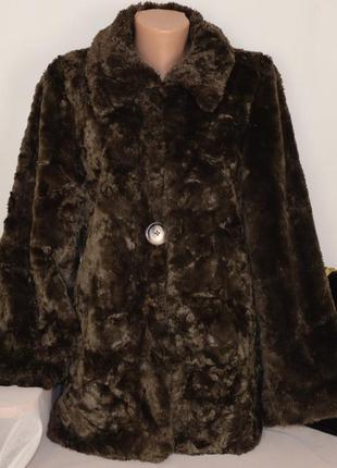 Брендовая плюшевая шуба с карманами per una акрил