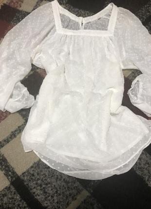 Белая блузка,блуза в горох
