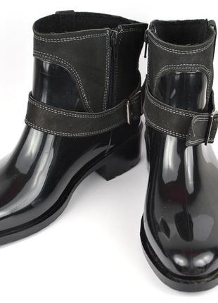Резиновые с кожей сапоги ботинки inblu р.39 стелька 26см