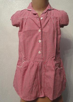 Летний сарафан, платье 4-5 лет, хлопок в клеточку