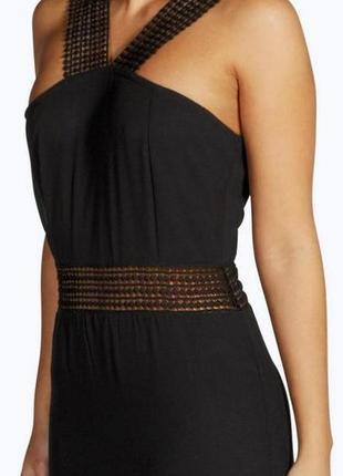 Красивое миди платье с вставками из кружева от boohoo