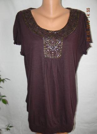 Новая трикотажная блуза с украшением большого размера