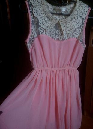 Розовое шифоновое платье верх-сетка с вышивкой, кружевом, макраме р.44,46