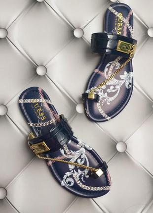 Guess оригинал сандалии синие с цепочкой бренд из сша