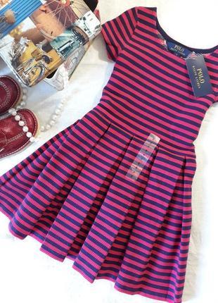 Polo ralph lauren, оригинал, розовое платье в полоску1