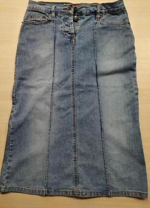 Фирменная котоновая юбка миди, стрейч ,р.s/42-44