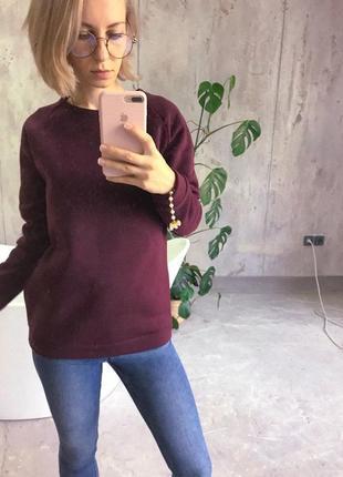 Теплый свитер, кофта, бордовый, марсала, свитшот на флисе, байка, с начесом, зимняя