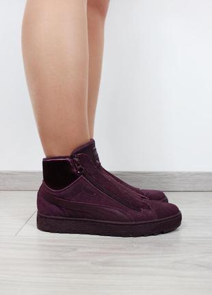 Бордовые ботинки-кроссовки puma