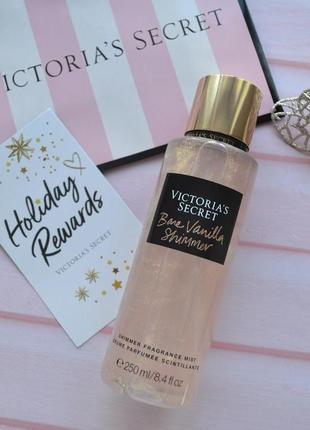 Парфюмированный спрей для волос и тела victoria's secret shimmer  bare vanilla