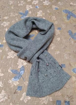 Светло-серый шерстяной шарф бренд gap