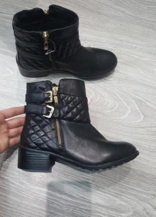 Новые lotus демисезонные ботинки ботиночки черные 36 женские кожаные