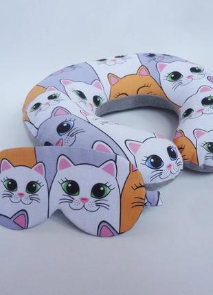 Двухсторонняя подушка для путешествий, на шею, в дорогу из плюша и хлопка - коты