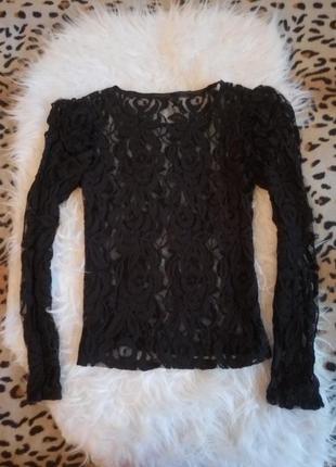 Черная ажурная блуза с длинным рукавом без подкладки гипюр вышивка прозрачная