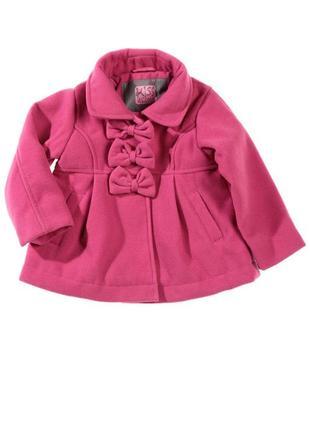 Скидка!!! пальто детское розовое с бантиками