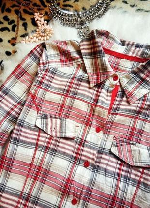 Белая рубашка в клетку красная черная хлопок большой размер батал denim co