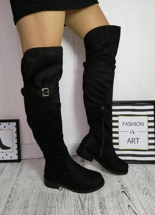 Новые черные зимние замшевые сапоги ботфорты размер 36,37